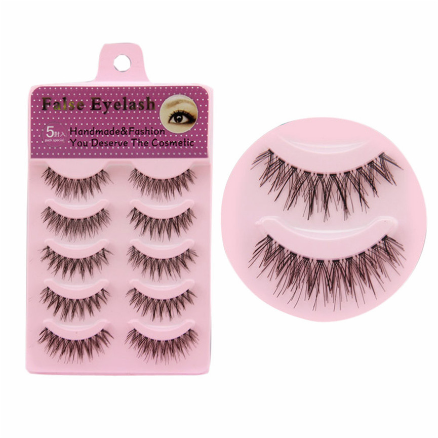 2017 5 Pairs Handmade Messy Natural Cross Long False Eyelashes Perfect Fake Eye Lashes Extention Tools Pestanas falsas