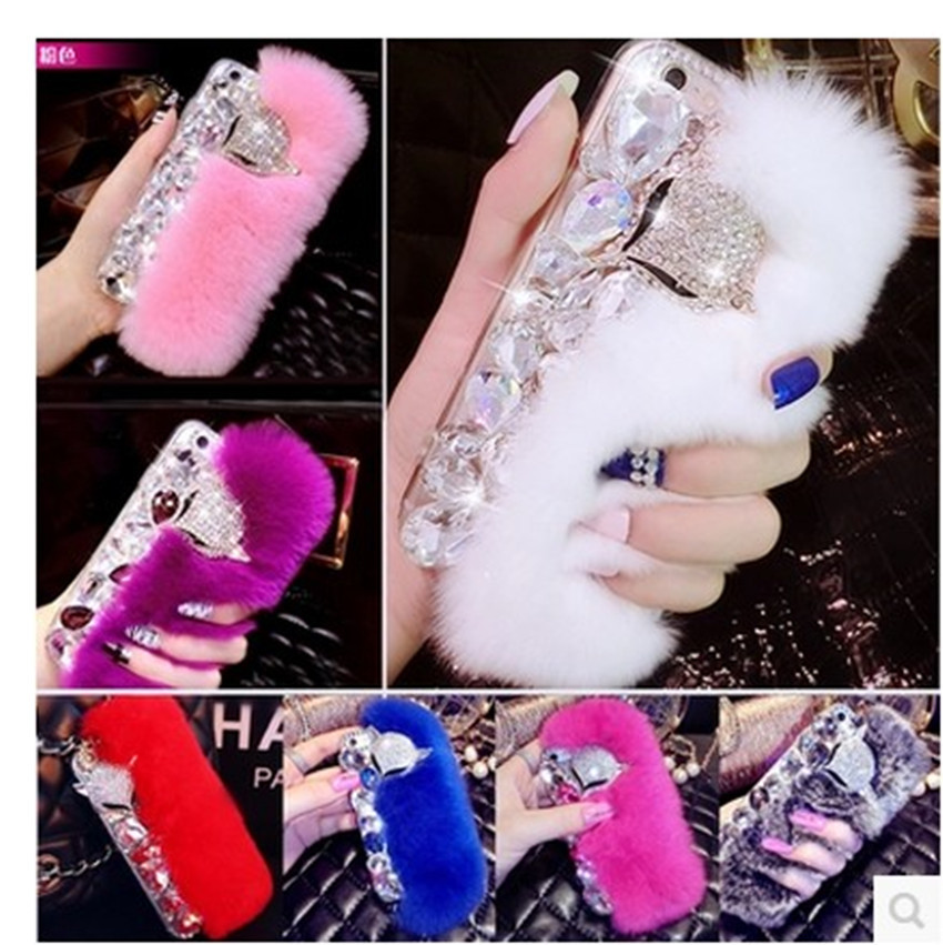 3D-Luxury-Bling-Diamond-Rabbit-Fur-Case-Fox-Head-Phone-Case-Cover-For-Samsung-A3-A5