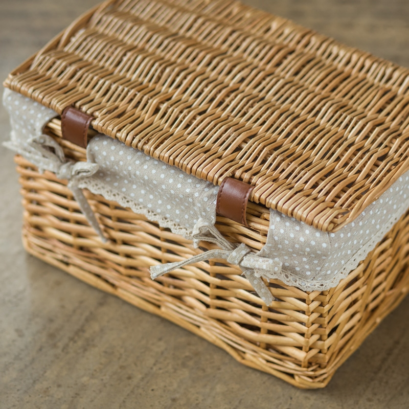 Receive Wicker woven baskets of kitchen toy snacks sundry cosmetics box sitting room clothes bin pastoral in Storage Boxes Bins from Home Garden