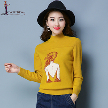 2018 Autumn Sweater Women Embroidery Knitted Winter Pullover Female High-neck Tops No314