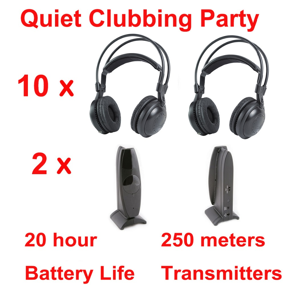 Most Professional Silent Disco compete system wireless headphones – Quiet Clubbing Party Bundle (10 Headphones + 2 Transmitters)