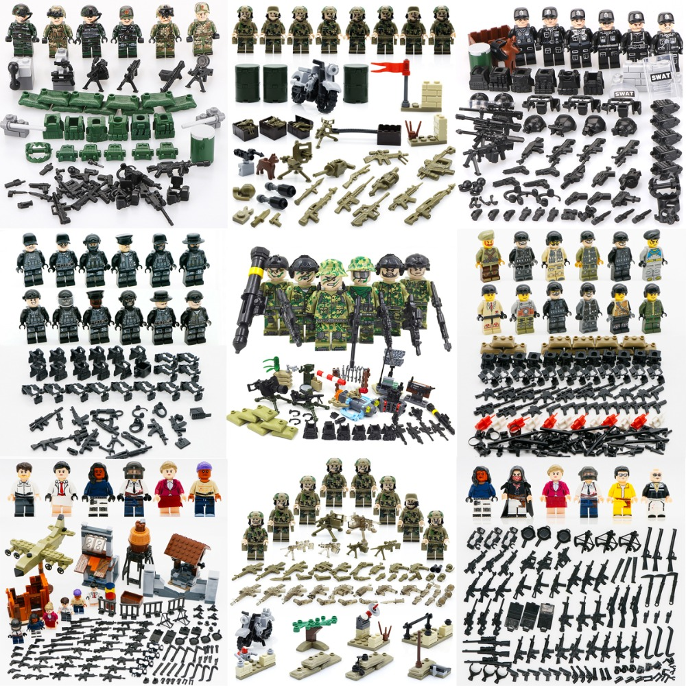 SWAT WW2 Special Army Force Building Blocks Soldier Figure CS Germany Weapon Gun City Police Toys Compatible LegoINGlys Military haogaole 11305 11308 military series custom police gatlin guns rpg sandbag mountain army weapon brick city police