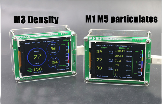 English M5 particulates PM2 5 PM1 0 PM10 detector air monitoring PM2 5 dust  haze Laser sensor with Temperature humidity TFT LCD