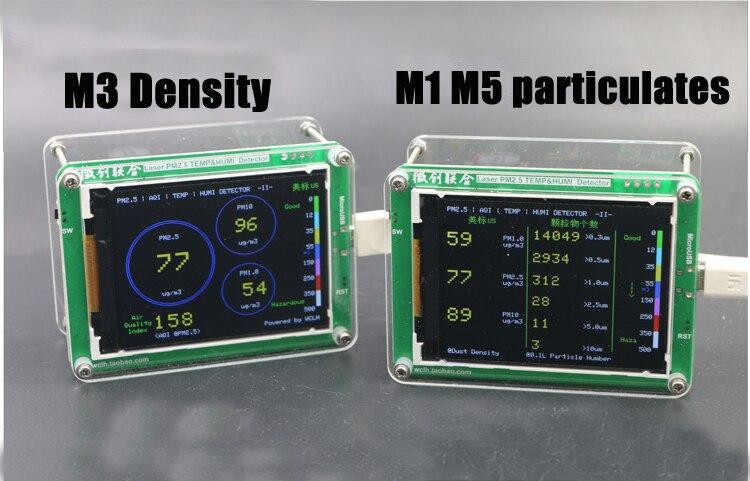 Inglês M5 partículas PM2.5 PM1.0 PM10 detector monitoramento do ar PM2.5 neblina de poeira Do sensor A Laser com TFT LCD De Temperatura e umidade
