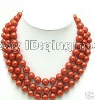SALE Beautiful! 3 strands Big 12MM high luster Perfect Round Red Sea Shell Pearl NECKLACE -nec5355