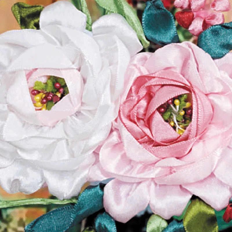 Couture, bricolage ruban point de croix ensemble pour kit de broderie, été lavande vase fleur ruban point de croix peinture décoration murale maison