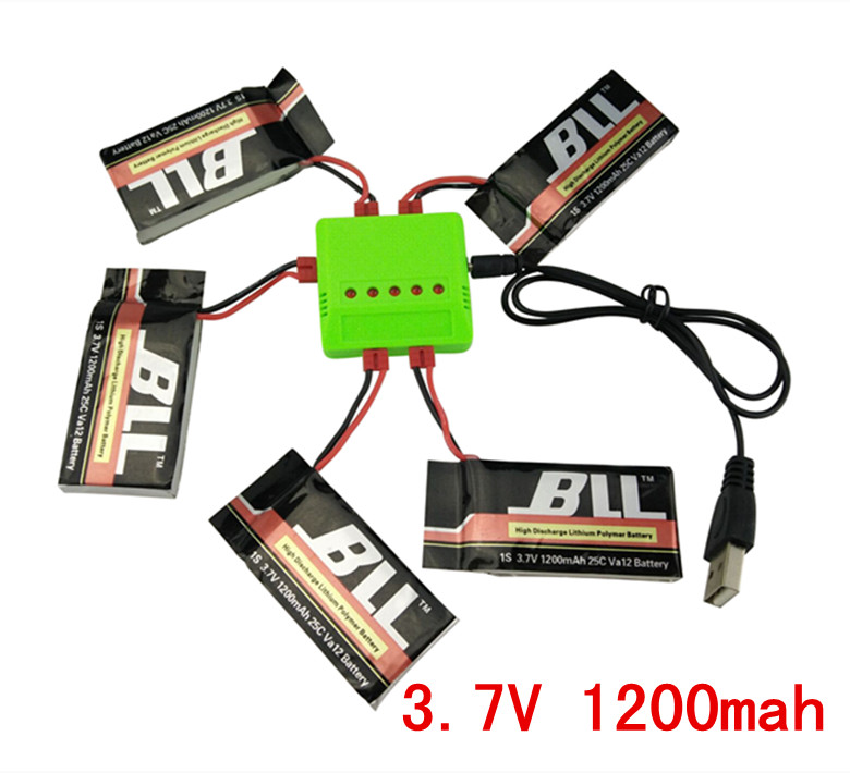 BLL 5PCS 3.7V 1200mah battery and charger SYMA X5HW X5HC rc quadcopter accessories upgrade parts