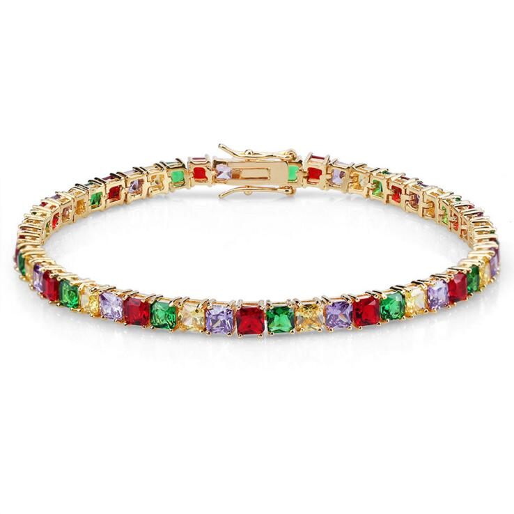"Sunner Arrived Women Men Boy Gift Rainbow Cz Tennis Chain 7\"" 8\"" Colored Cz Tennis Bracelet"