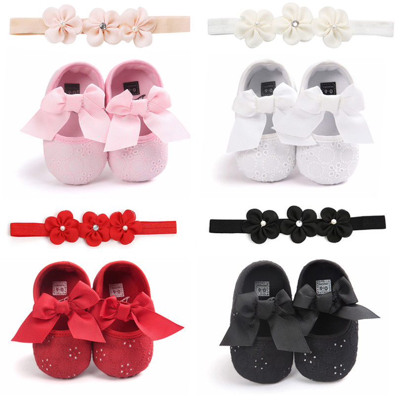 New Toddler Baby Girls 0-18M Non-slip Slippers Pram Shoes Socks Bowknot Soft Sole Crib