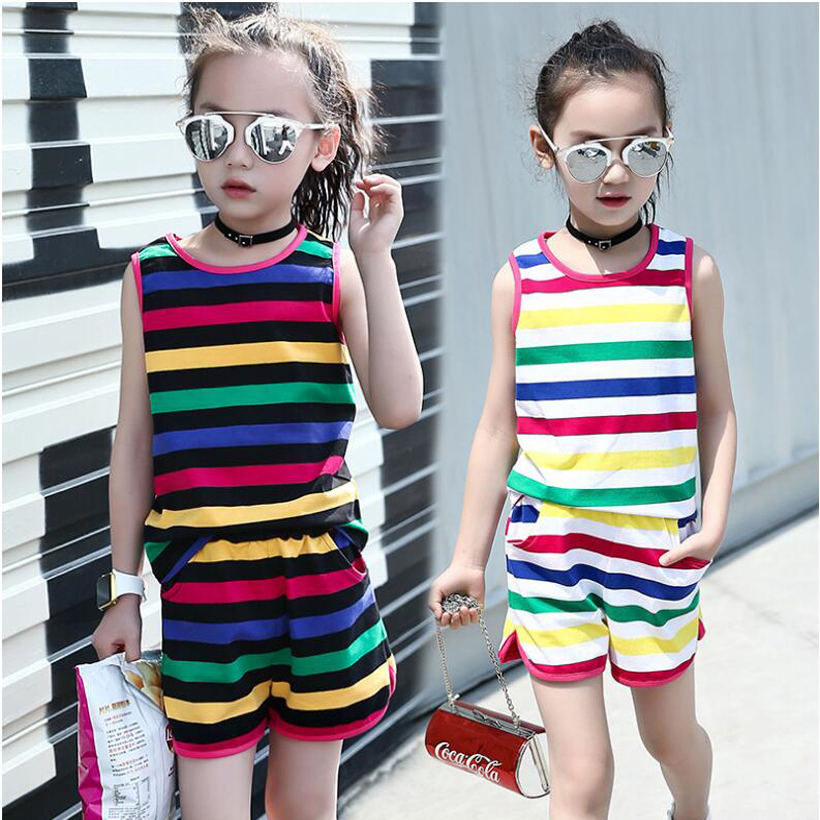 New arrive summer season ladies clothes units 2-10 years child ladies go well with colourful stripe printed sleeveless t-shirts + shorts pants TZ2 Clothes Units, Low-cost Clothes Units, New...