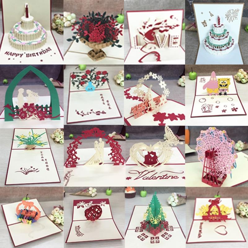 1pcs 3D Pop Up บัตรอวยพรที่มีซองจดหมายเลเซอร์ตัดโพสต์การ์ดสำหรับวันเกิดคริสต์มาสวาเลนไทน์ 'วันงาน...