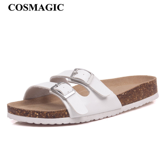 48f3370fe70 COSMAGIC 2018 New Summer Cork Slippers Shoe Women Casual Solid Color PU Flip  Flops Holiday Beach Slides Flat with Plus Size