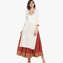 New India Fashion Woman Ethnic Styles Print Set Cotton Dress Three Quarter Sleeve Costume Elegent Lady Long Top Skirt