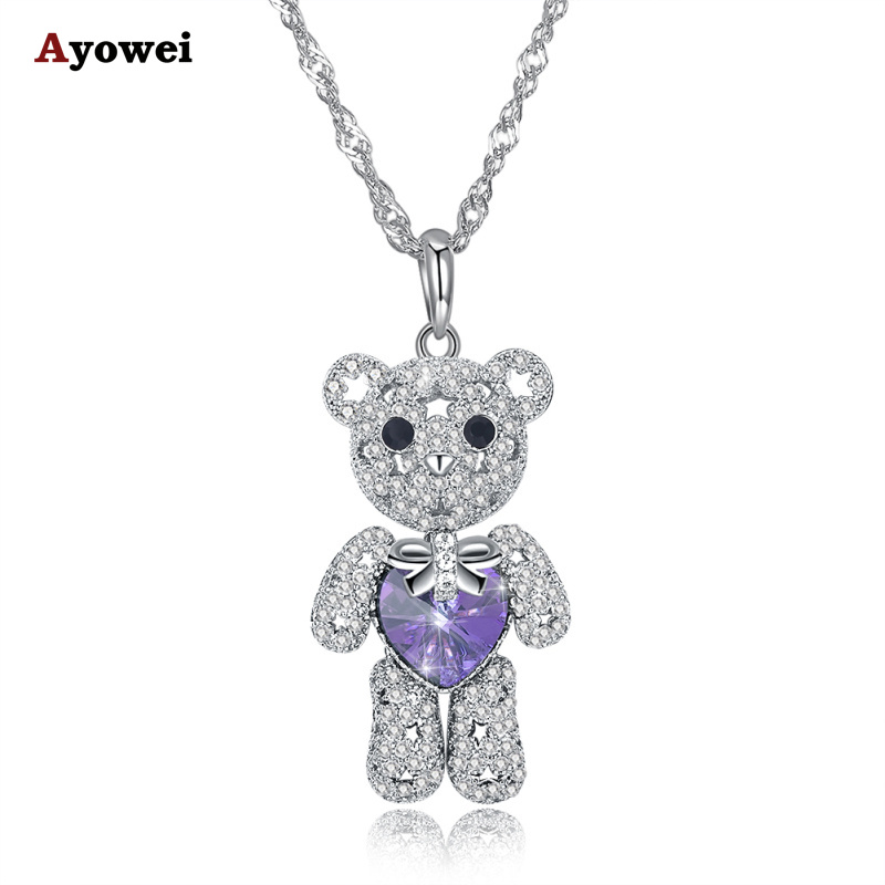 Ayowei purple Zircon 925 Sterling Silver Pendant Necklace Valentine's Day Gift SP73A ayowei heart shaped 925 sterling silver rainbow zircon pendant necklace wedding gift sp75a