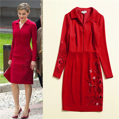 Chinese Red Tradition Embroidered High Quality fashion Dress Runway Dresses Autumn Womens Brand Luxury Dress Women's Clothing