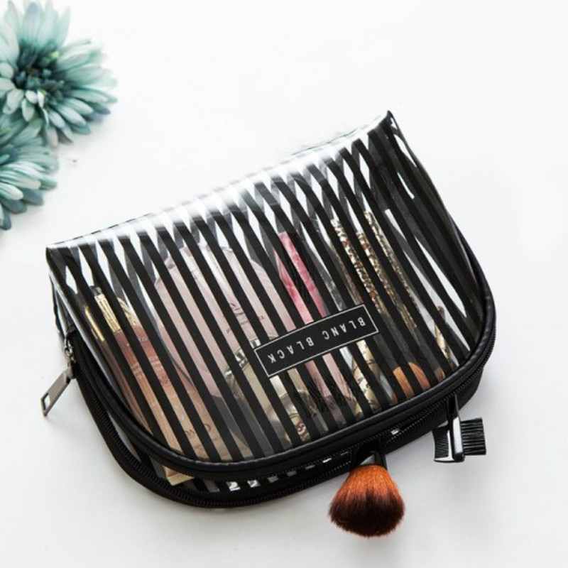 Travel Transparent Waterproof Makeup Bag Striped Zipper Cosmetic Organizer Women Toiletry Bag Make Up Pouch Wash Bags