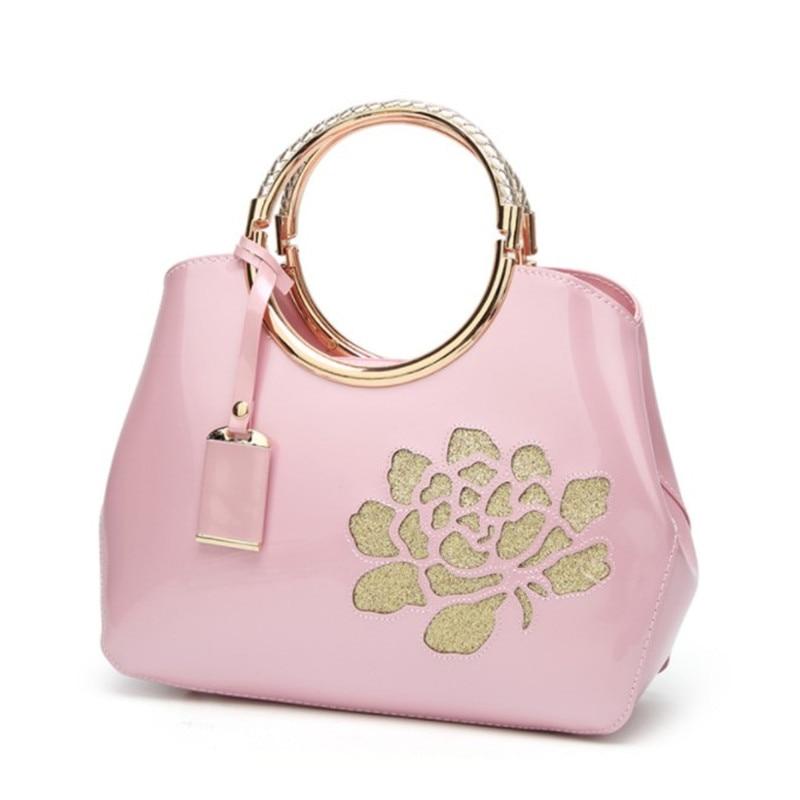цена на 2018 New fashion Europe and the United States patent leather female handbag bright shell ladies baodan diagonal diagonal package
