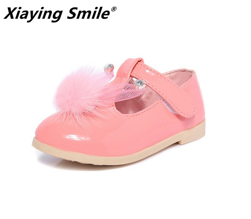 Belbello Baby Girls Shoes Children Loafer Kid Shoes Spring Summer Cute Sweet Bunny Ear Pompon Hook And Loop Flat Leather Shoes босоножки sweet shoes sweet shoes sw010awtbr38