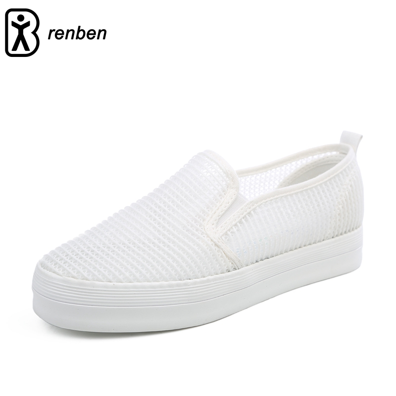 Renben Women Summer Spring Hollow Out Mesh Design Canvas Shoes Girl Student Sports Leisure White Sneakers Women free shipping 2017 spring summer shake shoes breathable hollow out single women shoes the nurse s shoes white and platform shoes