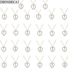 A To Z 26 Letter Name Necklaces & Pendant For Women Girl Fashion Long Chain Heart Necklaces Cubic Zirconia DIY Jewelry Gift x1(China)