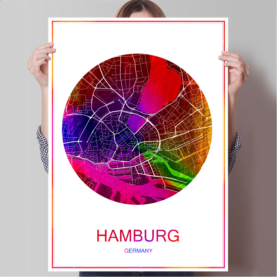 Poster design price - World Famous City Map Hamburg Germany Print Poster Print On Paper Canvas Wall Sticker Bar Pub