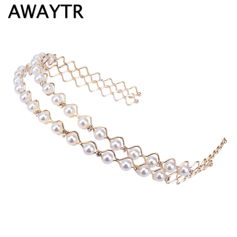 fashion women silver wedding pearls hairpins crystal vine bridal head wear hair accessories diamond headpiece 1 Pcs/Lot New Silver Crystal Rhinestone Hairbands for Women Bridal Wedding Hair Accessories Tiara Headbands Crown Hairwear