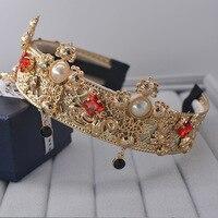 2017 barock braut spitze full high-grade perle haar-band crown braut haarschmuck weibliche großhandel