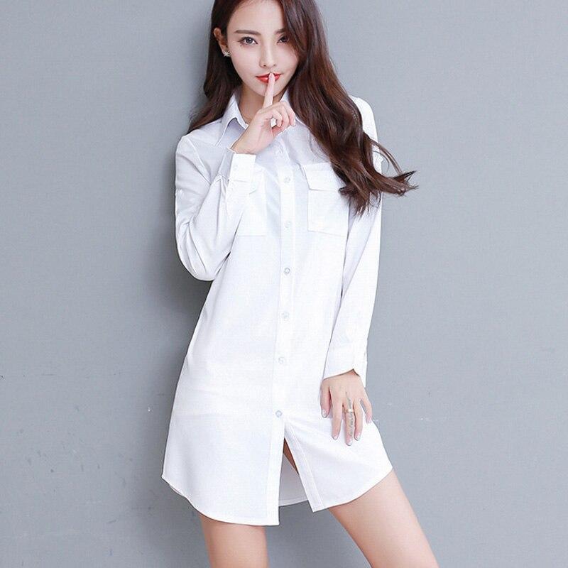 Plus Size S-5XL Korean Elegant White Long   Shirt   Women Office   Blouse   Turn-down Collar Long Sleeve White   Shirt   Women Sexy Tops