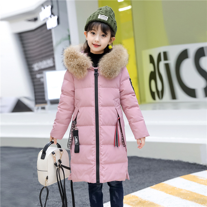 цена на Girls Winter Coat Casual Outerwear Warm Thick Hooded Fur Collar Kids Down Jacket for Girls Clothes Casual Teenage Kids Parkas