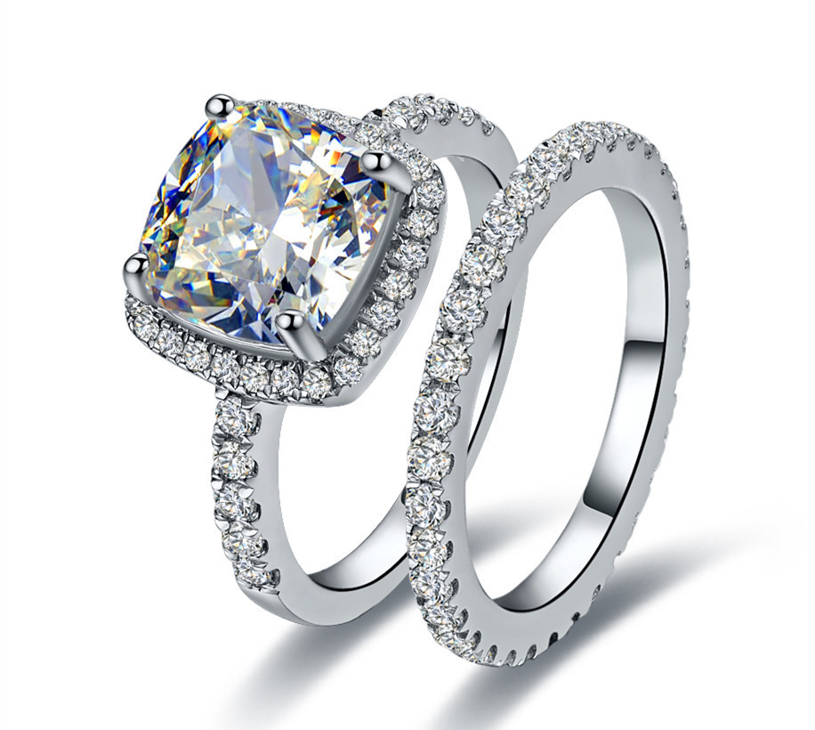 Threeman 3 55 Ctcushion Cut Synthetic Diamonds Rings Set Engagement Ring Wedding Band Sterling Silver Jewelry White