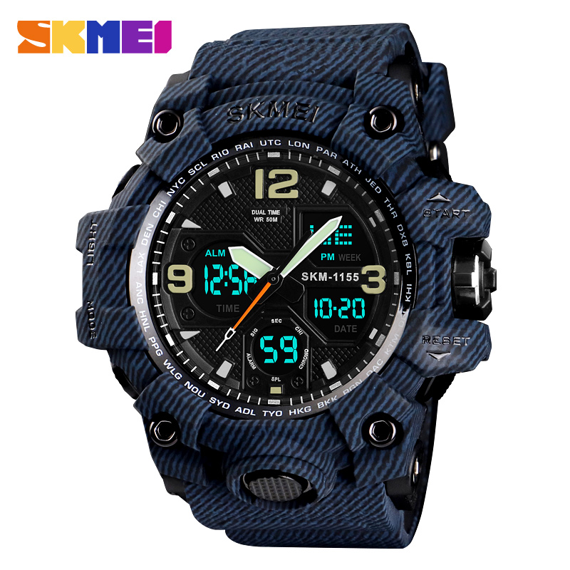 SKMEI Denim Dual Display Digital Watches Men Waterproof Outdoor Sports Watch Multi-function Military Wristwatches Relogios 1155B