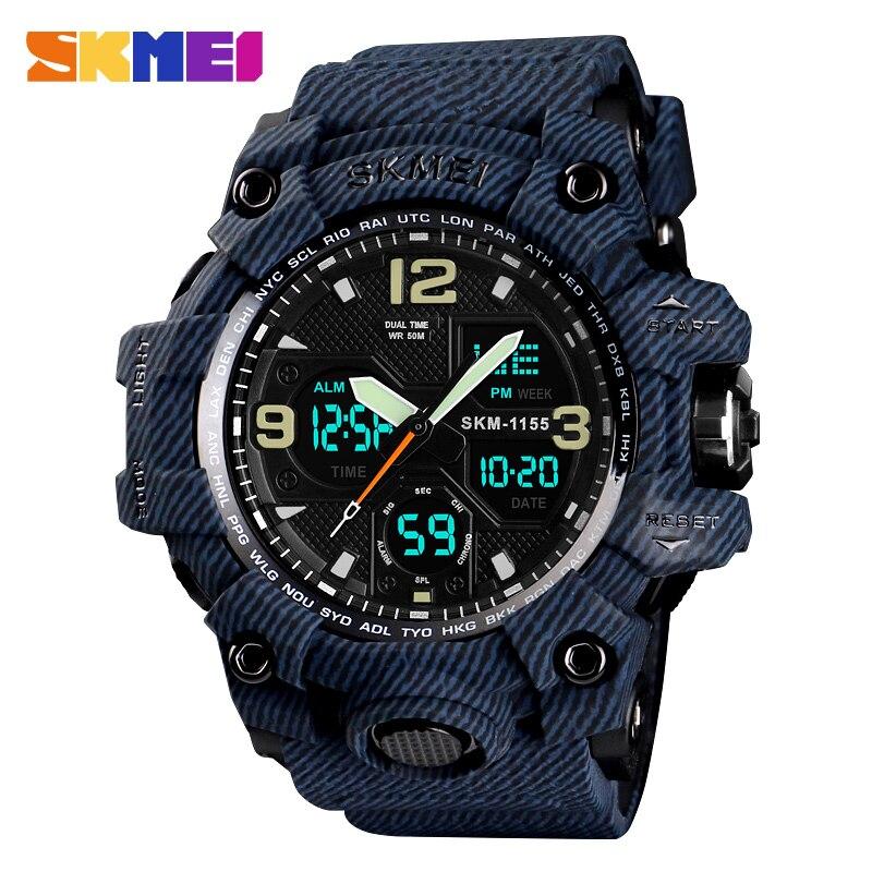 SKMEI Denim Dual Display Digital Watches Men Waterproof Outdoor Sports Watch Multi-function Military Wristwatches Relogios 1155B