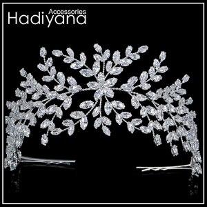 Image 3 - Hadiyana ファッション花嫁王冠の結婚式のティアラジルコン女性ヘアアクセサリーかぶとソフト高級バレッタ BC4702
