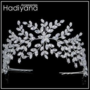Image 3 - Hadiyana Thời Trang Cô Dâu Thái Cưới Tiaras Với Zircon Nữ Tóc Phụ Kiện Trang Sức Mũ Trụ Cao Cấp Mềm Mại Barrettes BC4702