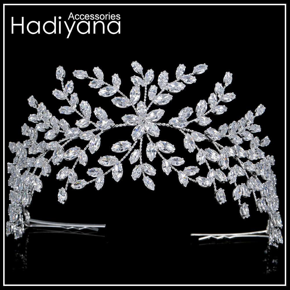 Hadiyana moda korona panny młodej ślubne diadem z cyrkonią kobiety akcesoria do włosów biżuteria chluba miękkie luksusowe Barrettes BC4702