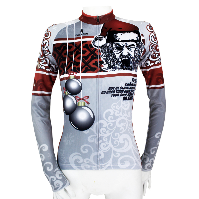 Free shipping Womens Long Sleeve Cycling Jerseys Roaring Santa Claus Ropa  Ciclismo Evil Bomb Cycling Clothing Size XS-6XL 9be6c68e0