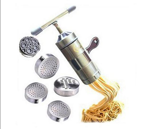 Stainless Steel Noodle Maker With 5 Models Manual Noodles Press Pasta Machine...
