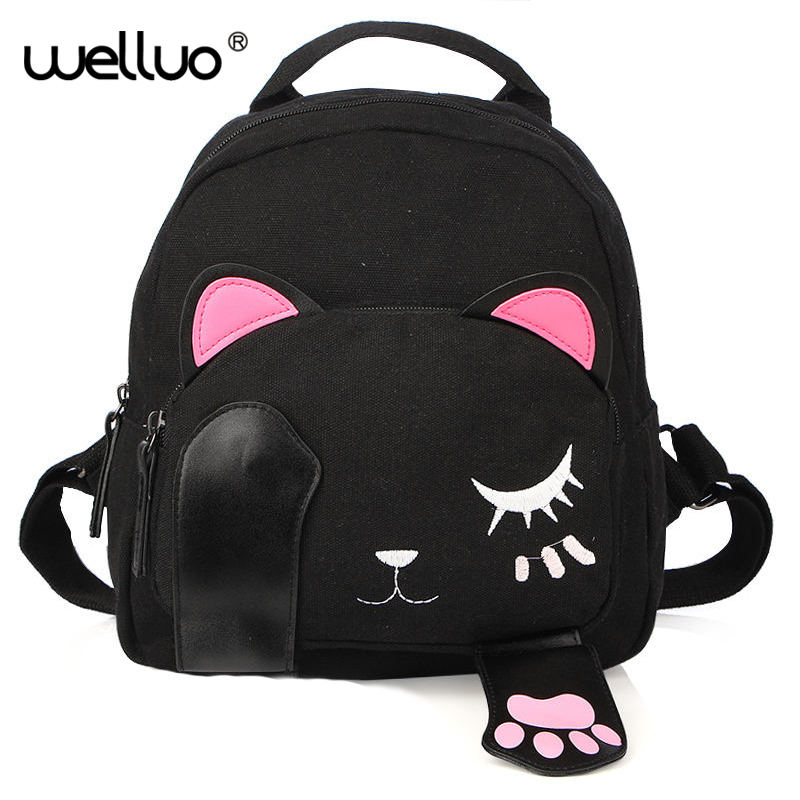 Cute Cat Backpack Female Canvas Leather Patchwork Embroidery Backpacks for Teenage Girls Funny School Rucksack Travel Bag XA655B