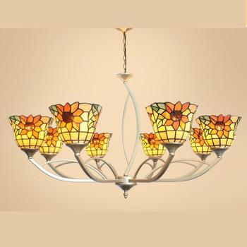 Flower Ceiling Light | Restaurant Stained Glass Lampshade Pendant Chandeliers For Living Room Lamp Tiffany Lamp Garden Flower Vine Ceiling Chandelier