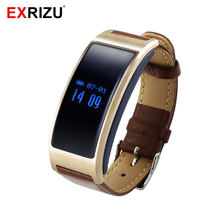 EXRIZU Smartband K18 Heart Rate Blood Pressure Monitor Smart Bracelet Bluetooth Wirstband Pedometer Sleep Tracker Leather Strap
