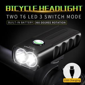 Image 2 - Juego de luces LED delanteras y traseras para bicicleta, linterna T6 18650 de 1000LM, recargable vía USB, MICCGIN