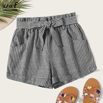 Dotfashion Plus Size Grey Striped Self Tie Shorts Women 2019 Summer Casual Shorts Ladies Korean Fashion Straight Leg Shorts