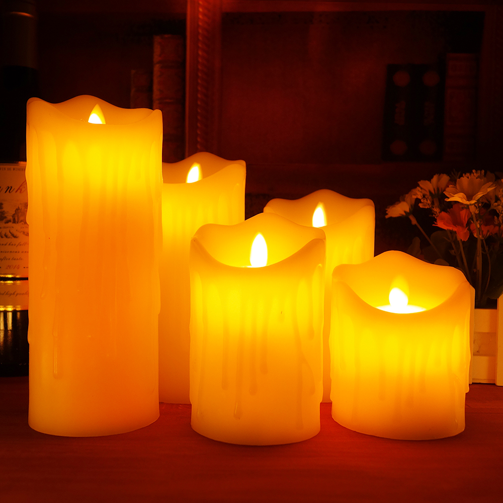 Ivory Flickering Led Candles With Remote Control Scented Bougie
