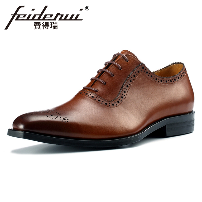 Plus Size Italian Formal Dress Genuine Leather Men's Carved Oxfords Luxury Pointed Toe Wedding Party Handmade Brogue Shoes MLT31 skp151custom made goodyear 100% genuine leather handmade brogue shoes men s handcraft dress formal shoes large plus size