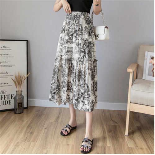 Женская дизайнерская длинная юбка плиссе, винтажная хлопковая юбка с принтом животных, на этастичном поясе, роскошный подиумный наряд, новинка на осень