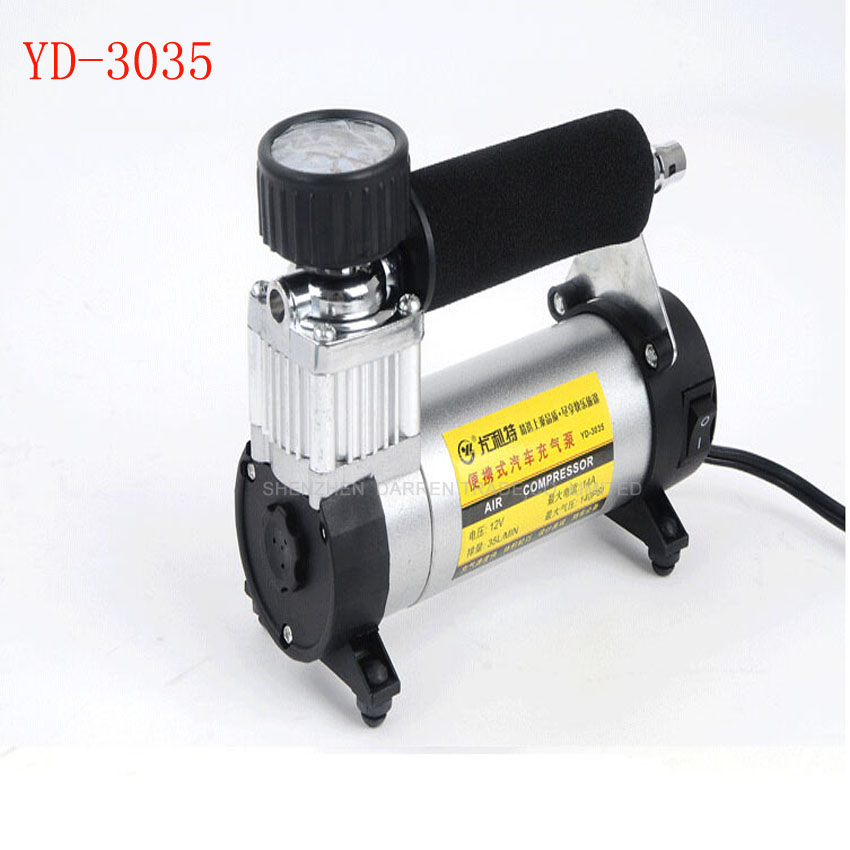 2PCS YD-3035 Portable Super Flow 12V 140PSI Auto Tire Inflator / Car Air Pump Car Pumps Car Air Compressor 12V
