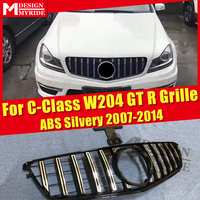 W204 Sport grille grill GT R style ABS silver without sign For MercedesMB C class C180 C200 C250 C63AMG look grills NOT For C63