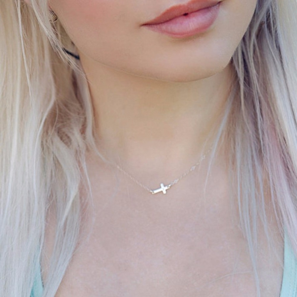 for cross necklace gold from tiny pendant fashion chain item bijoux collar in necklaces women mujer sideways jewelry silver