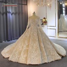 2019 gelinlik vestito convenzionale maniche lunghe abito da sposa