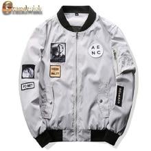 Grandwish 2017 nuevos hombres chaqueta de bombardero hip hop patch designs Slim Fit Piloto de Bombardero Chaqueta de la Capa de las Chaquetas Más El Tamaño 4XL, PA573